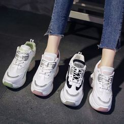 Sleeko - 雙色調透氣厚底內增高休閒鞋