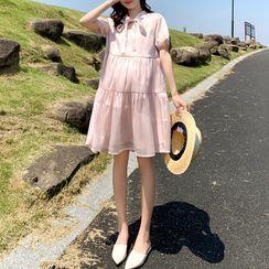 Hearty Bliss - Maternity Short-Sleeve Bow Mini Dress
