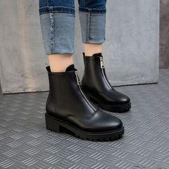 Megan - Front Zip Faux Leather Short Boots