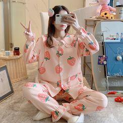 Mamaladies - Maternity Long-Sleeve Printed Pajama Set
