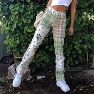 WEEKEND BLOOPERS - Plaid Patchwork Straight-Fit Jeans