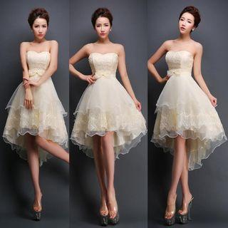 Sennyo - Strapless Bow-Accent Mini Prom Dress