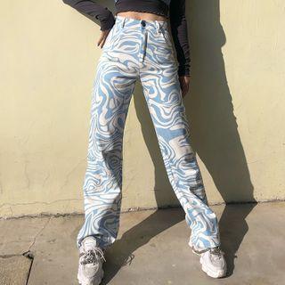 Sugar Village - Zebra Print High-Waist and Straight-Leg Jeans