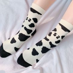 Hello minto - Cow Print Crew Socks