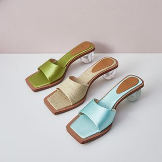 Kireina - Square-Toe Chunky-Heel Slide Sandals