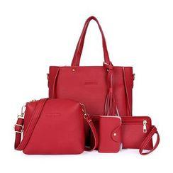 Auree - Set: Faux Leather Tote Bag + Crossbody Bag + Wristlet + Card Holder