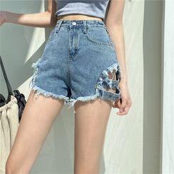 Newkoou - Frayed Denim Shorts