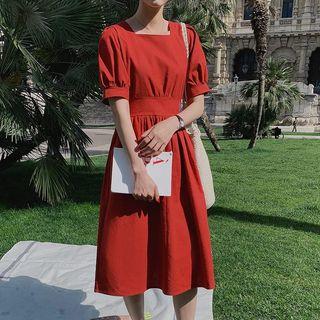Leoom - Square Neck Short-Sleeve Midi  A-Line Dress