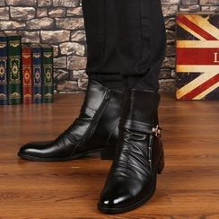 Goldtrench Shoes(ゴールドトレンチシューズ) - Pointed Block Heel Short Boots