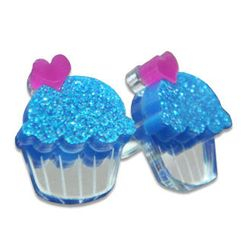 Sweet & Co. - 可爱闪烁闪蓝CUPCAKE耳环