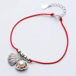 A'ROCH - 925 Sterling Silver Faux Pearl Pendant String Bracelet