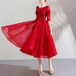Fioridi - Elbow-Sleeve Lace Appliqued Midi Prom Dress