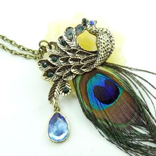 Fit-to-Kill - Peacock Feather Pendant Necklace