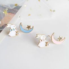 Teeny Trendy - Non-matching Faux Pearl Rabbit Moon & Star Earring