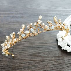 First Impression - Wedding Faux Pearl Branches Tiara