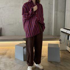 Ashlee - Long-Sleeve Striped Shirt / High-Waist Plain Corduroy Wide-Leg Pants