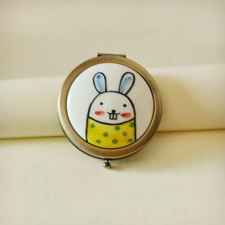 Heliotrope - 陶瓷小兔印花便携式鏡子