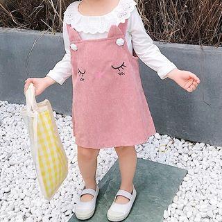 Hecto - Kids Set: Eyelet Collar T-Shirt + Jumper Dress