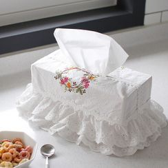 iswas - Embroidered Eyelet-Lace Tissue Cover