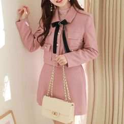 MyFiona - Flap Metallic-Button Cropped Jacket with Brooch