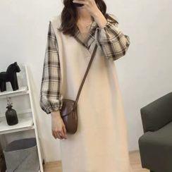 COOLIN - 套裝: 針織長背心 + 格子長袖襯衫連衣中裙