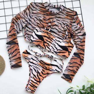 Frutto - Set: Animal Print Bikini + Cover-Up