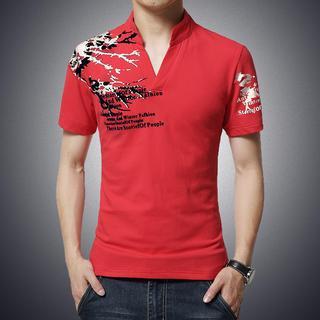 Alvicio - Mandarin-Collar Print Top