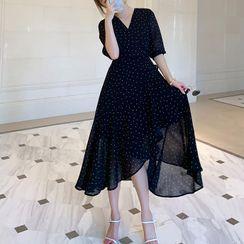 Ebbie - Short-Sleeve Dotted Midi A-Line Dress