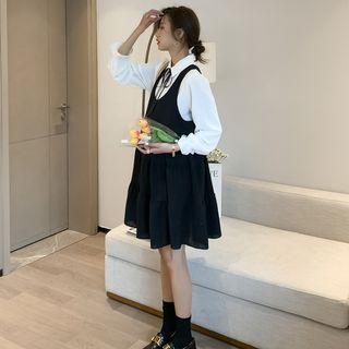 Clover Dream(クローバードリーム) - Maternity Set: Long-Sleeve Shirt + Sleeveless A-Line Dress