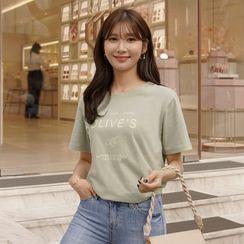CLICK(クリック) - 'OLIVES' Printed T-Shirt