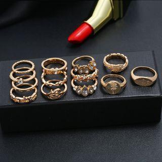 Yeoleum - Set of 13: Rhinestone Alloy Ring (assorted designs)