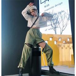 Porstina - Lettering Detachable Harem Pants