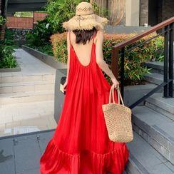 AMOS - Spaghetti Strap Open Back Maxi Beach Dress