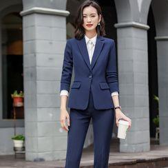 Skyheart - 配色饰缝线衬衫 / 西裤 / 铅笔裙 / 单扣西装外套 / 马甲 / 套装