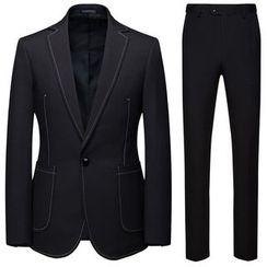 Sheck - 套裝: 縫線邊西裝外套 + 西褲