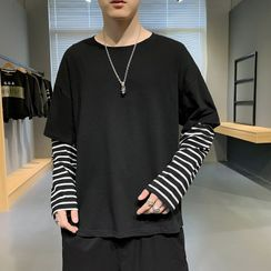 Ayuyel - Long-Sleeve Mock Two Piece T-Shirt