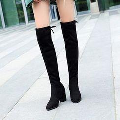 Weiya - Block Heel Over-The-Knee Boots