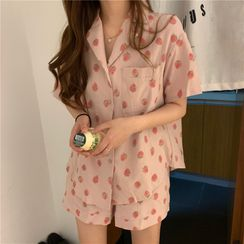 Whoosh - Pajama Set: Strawberry Print Short-Sleeved Shirt + Shorts
