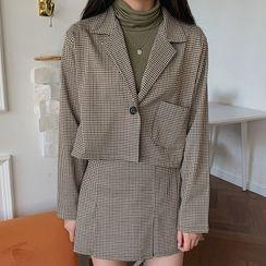 MERONGSHOP(メロンショップ) - Checked Cropped Jacket