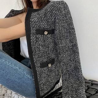 DABAGIRL - Hook-and-Eye Tweed Jacket