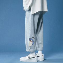 Lazi Boi - 印花寬腿牛仔褲
