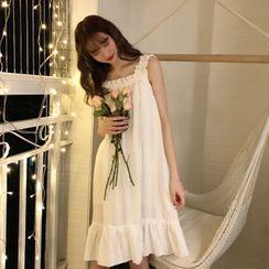 ANORA - Ruffled Sleeveless A-Line Sleep Dress