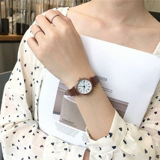 Honey Bee - Retro Roman Numeral Faux Leather Strap Watch