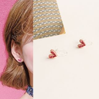 Joodii - Rhinestone Heart Earring / Pendant Necklace