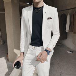Hawoo - 套裝: 純色西裝外套 + 西裝長褲