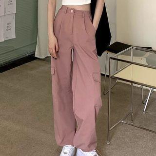 TUIDIA - Pocket Detail Harem Pants / Short-Sleeve Printed T-Shirt