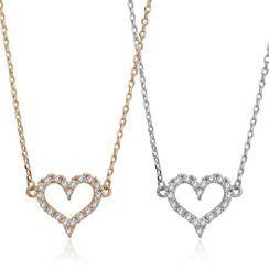 BURMASTIN - 925 Sterling Silver Rhinestone Heart Pendant Necklace