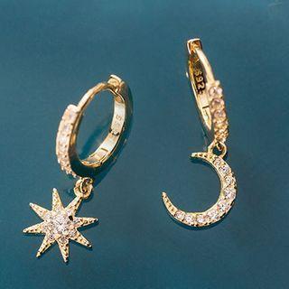 A'ROCH - Asymmetrical 925 Sterling Silver Rhinestone Moon & Star Drop Earring