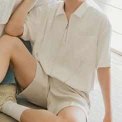 CHIC ERRO  - Chain-Detail Pocket-Front Short-Sleeve Shirt