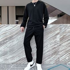 Andrei - Set: Plain Sweatshirt + Sweatpants